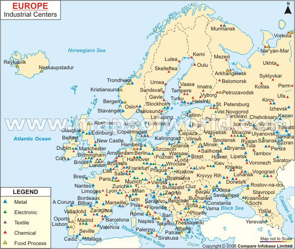 Map of Europe Industrial Center – Travel Map Of Europe With Cities