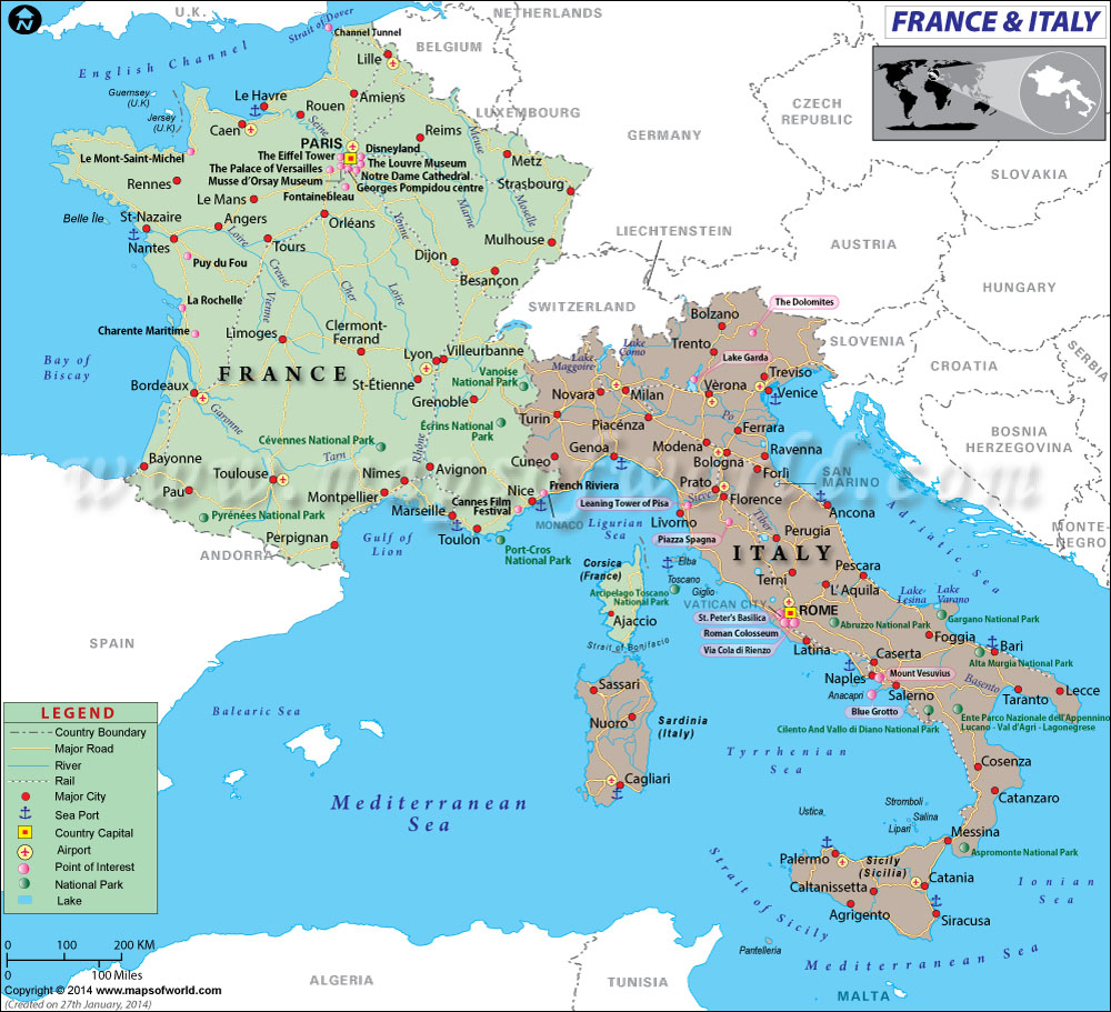map of france italy