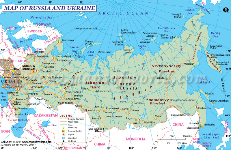 Map of Russia and Ukraine