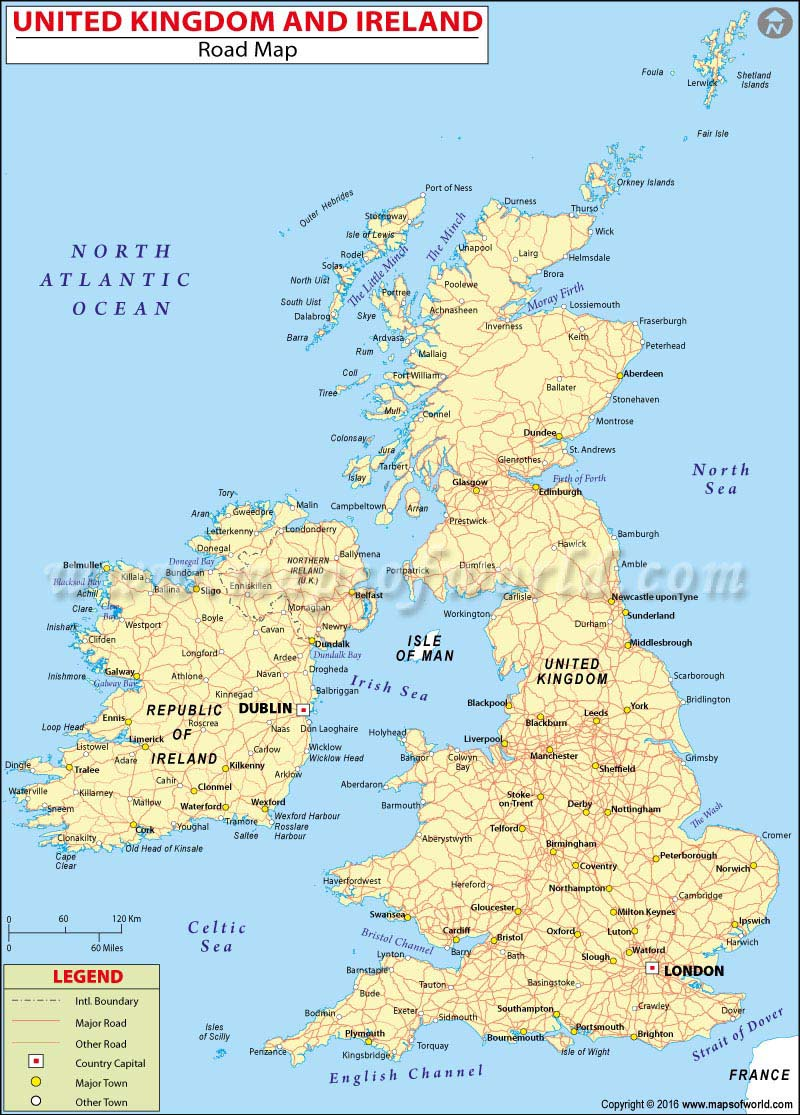Road Map of UK and Ireland Great Britain and Ireland Road Map – Road Map Uk