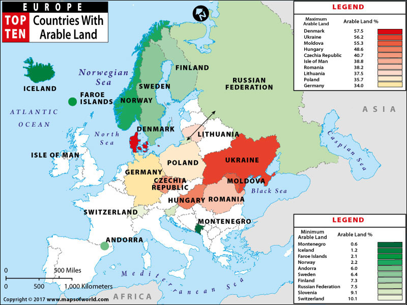 Map of European Countries with Maximum Minimum Arable Land – Map of Europe by Country