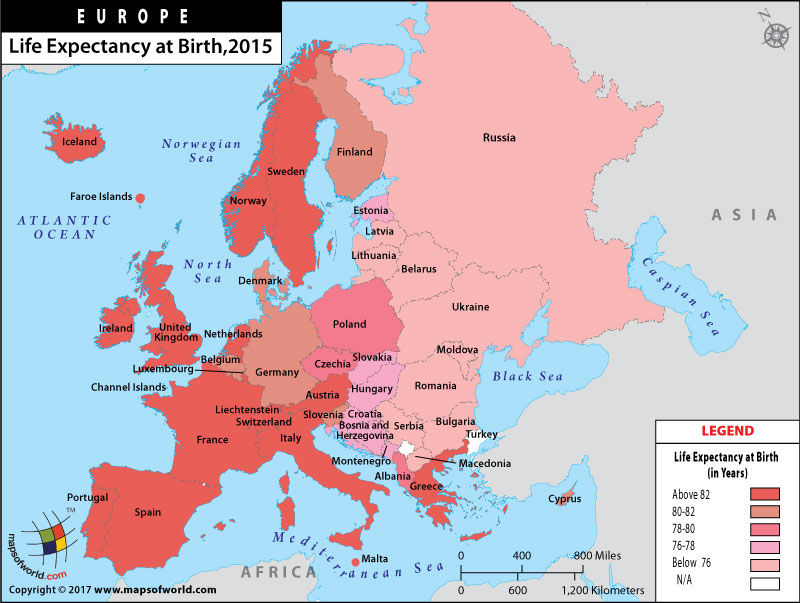 Life Expectancy at Birth in European Countries