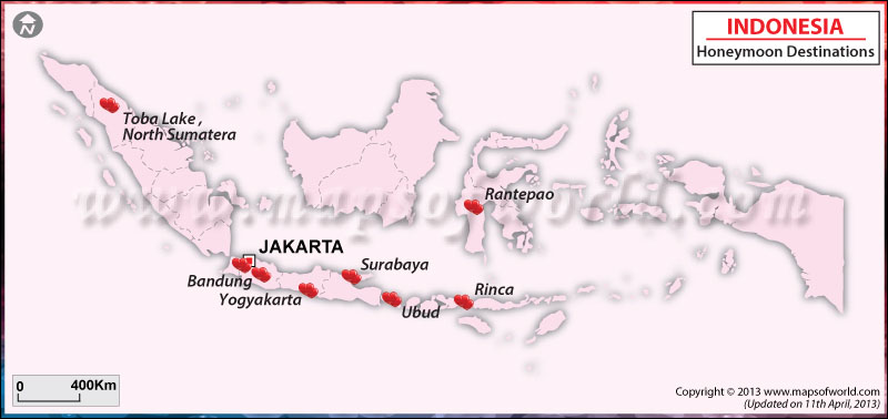 Indonesia Honeymoon Destinations Map