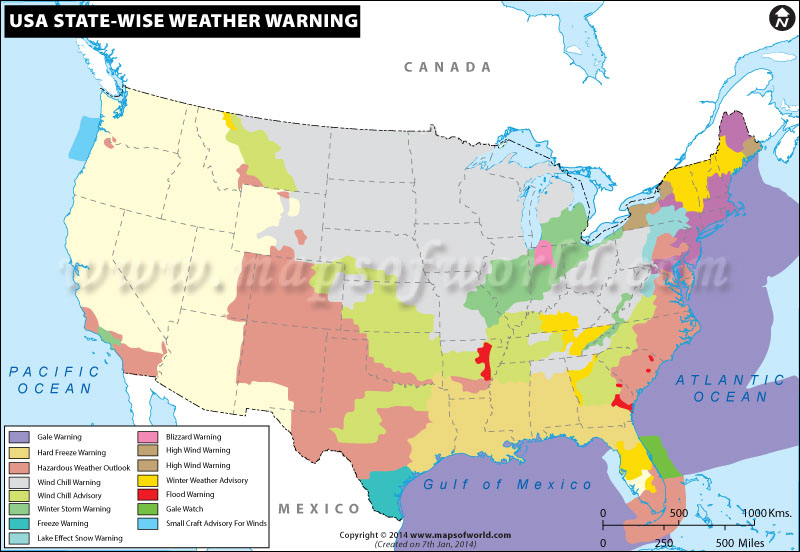 Map of USA State-Wise Weather Warning