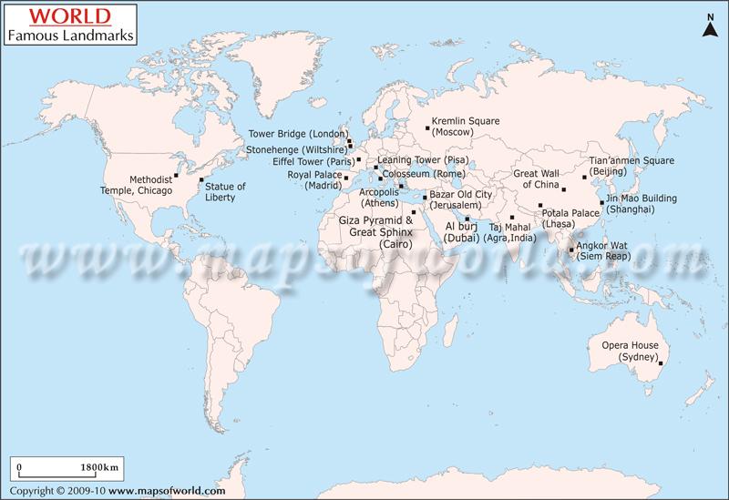World Map of Landmarks of the World