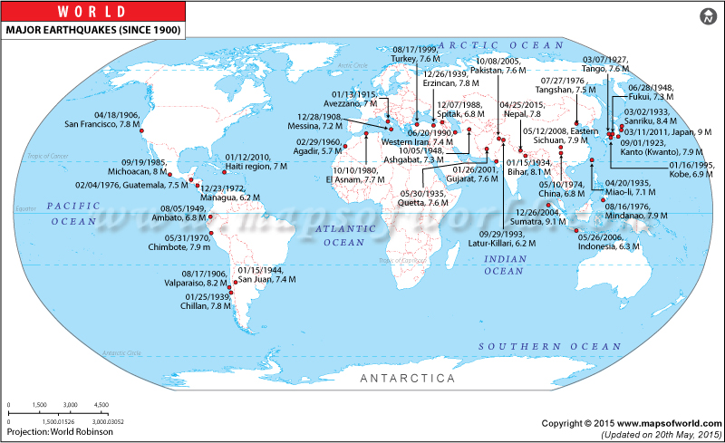 Major Earthquakes of the World