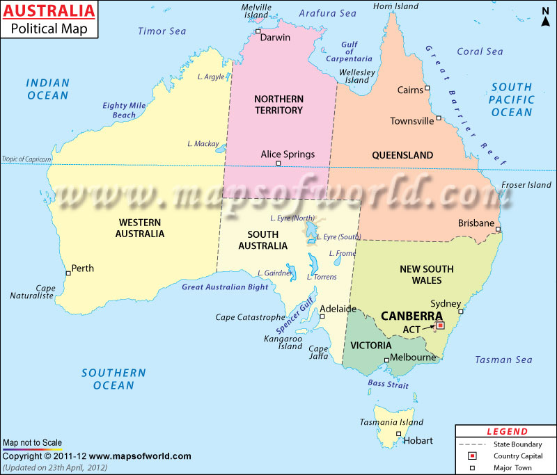 maps of australia with capital cities. Australia Political Map