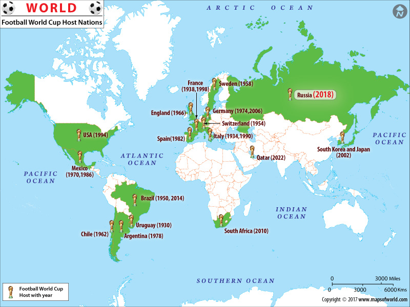 Map of Football World Cup Host Nations