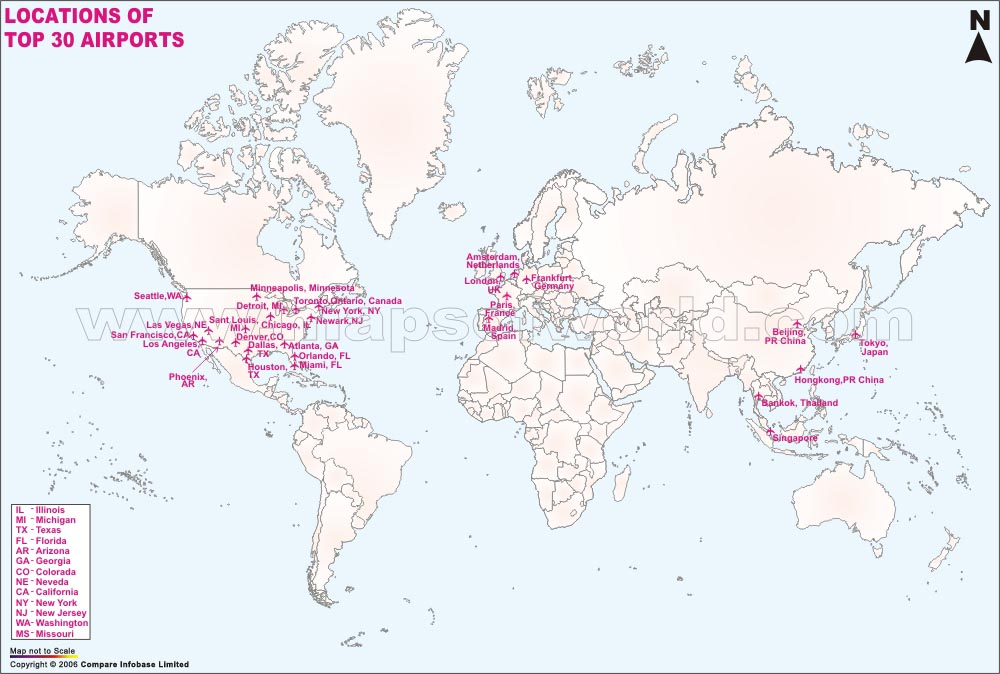 Map World Airports Watldonwebhomeipnet