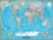 World Classic Wall Map, large & tubed