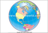 World Political America Centred Map in World From Space Projection