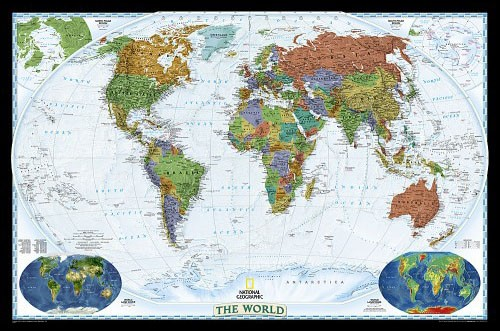 Decorative Wall Map of the World, laminated