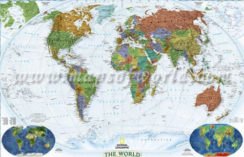 Decorative Wall Map of the World, large, laminated