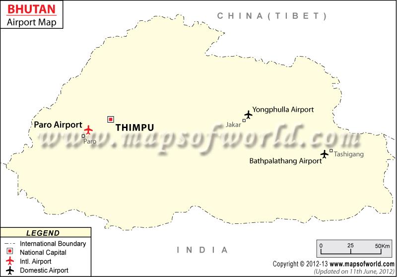 Bhutan Airport Map