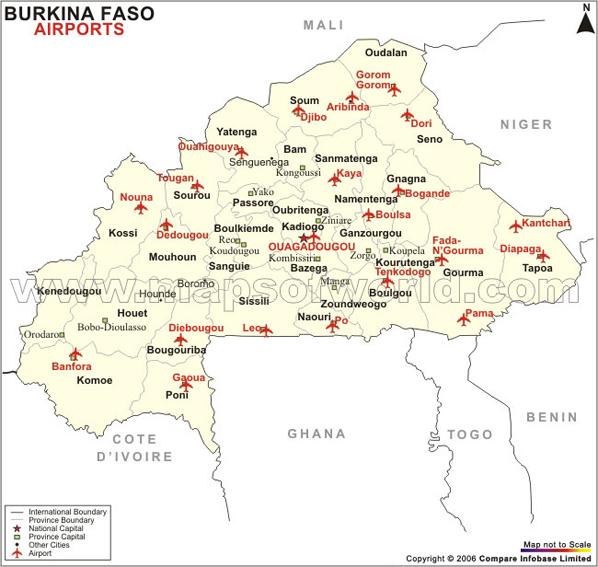 Burkina Airport Map