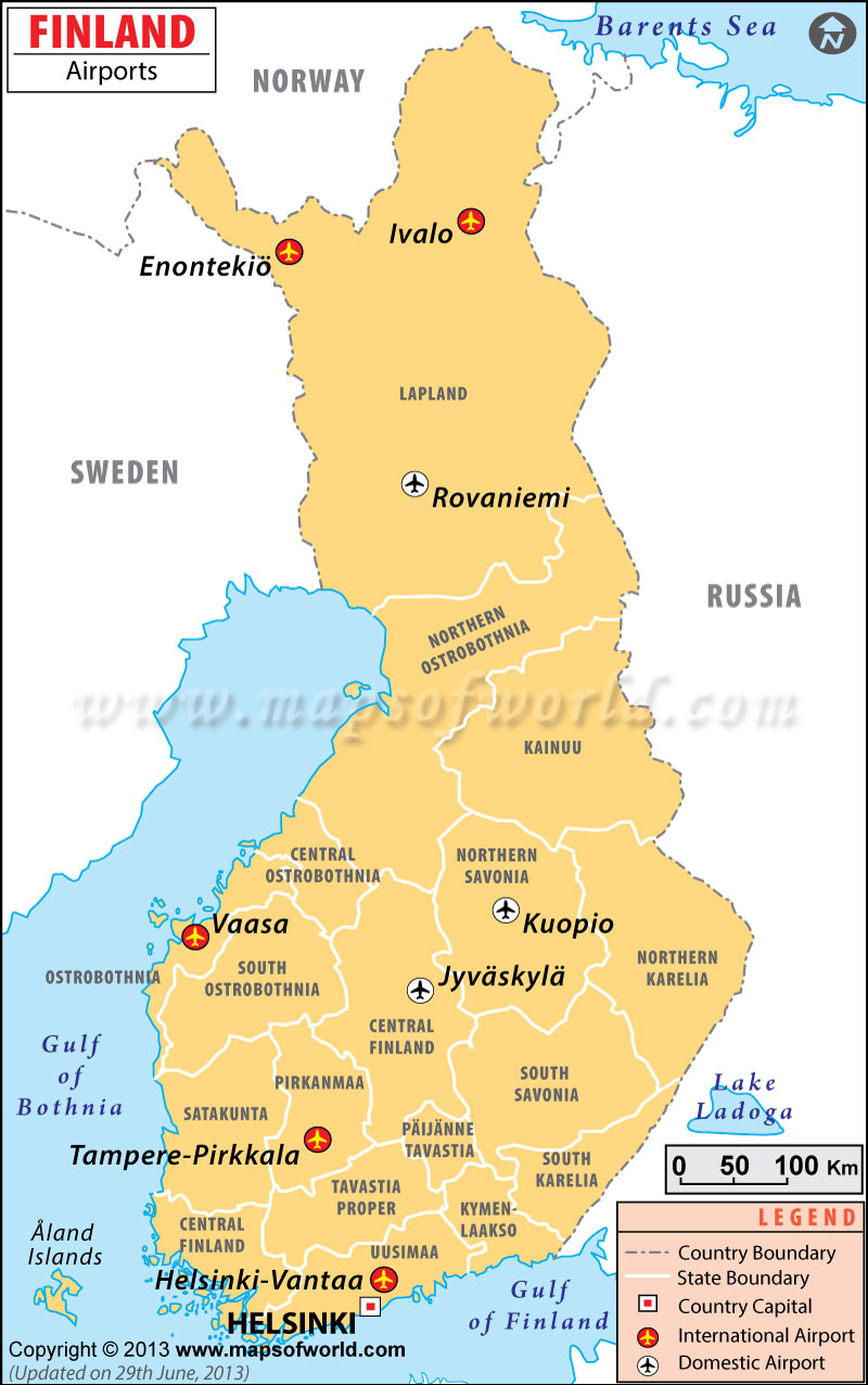 Finland Airports Map