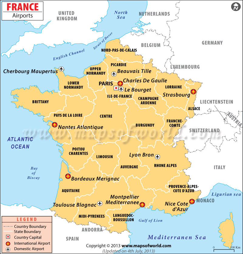 map of france with airports