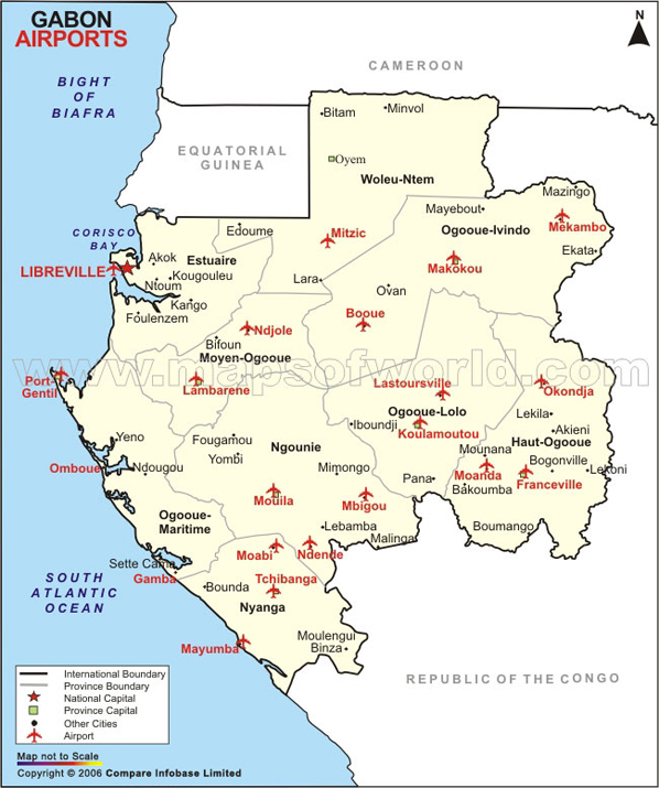 Airports In Gabon Gabon Airports Map