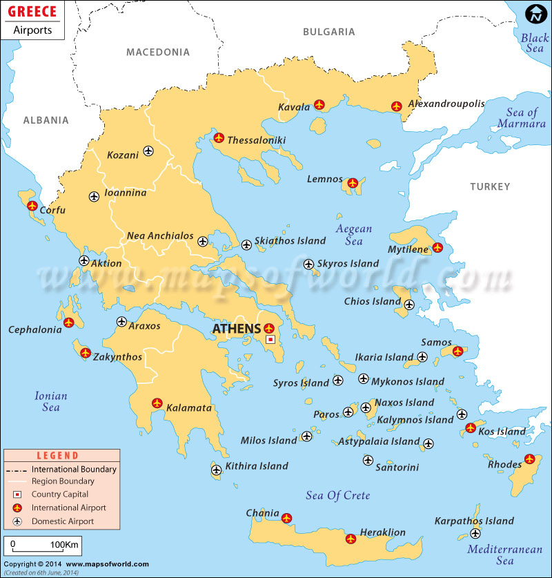 Greece Airport Map