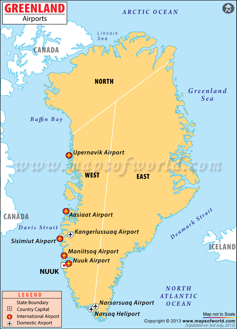 Greenland Airports Map
