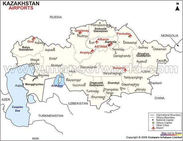 Mapa de Aeroportos no Cazaquistão