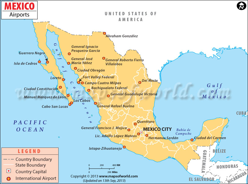 Mexico Airports Map