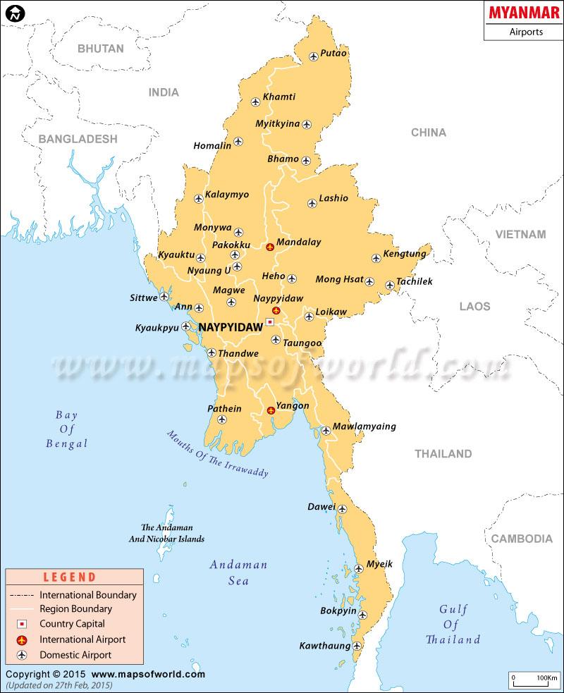 Myanmar Airport Map
