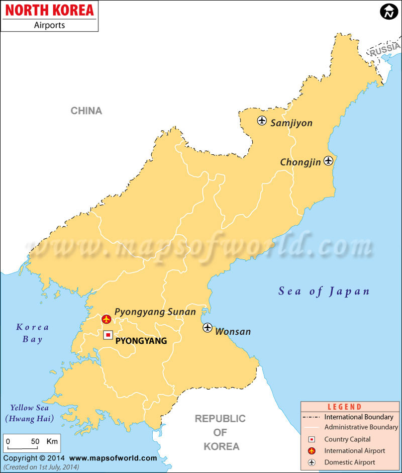 North Korea. North Korea Airport Map
