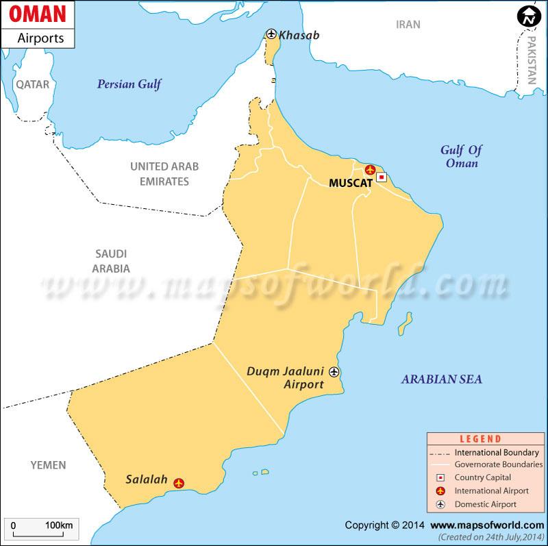 map of oman. Oman Airport Map