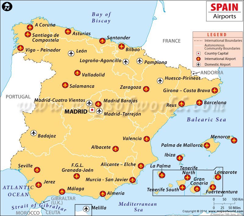 Spain Airports Map