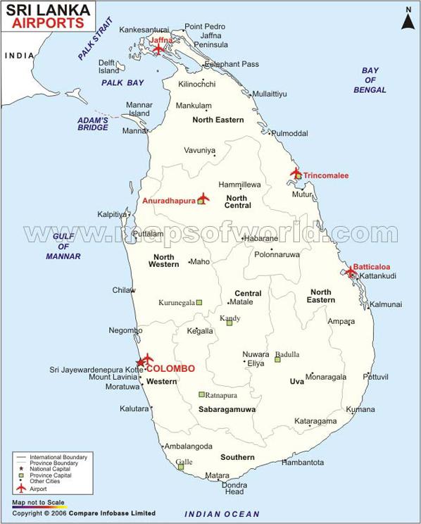 map of sri lanka with cities. Information on Sri Lanka