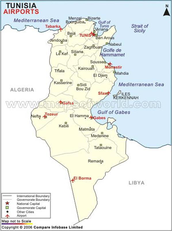 Tunisia Airport Map