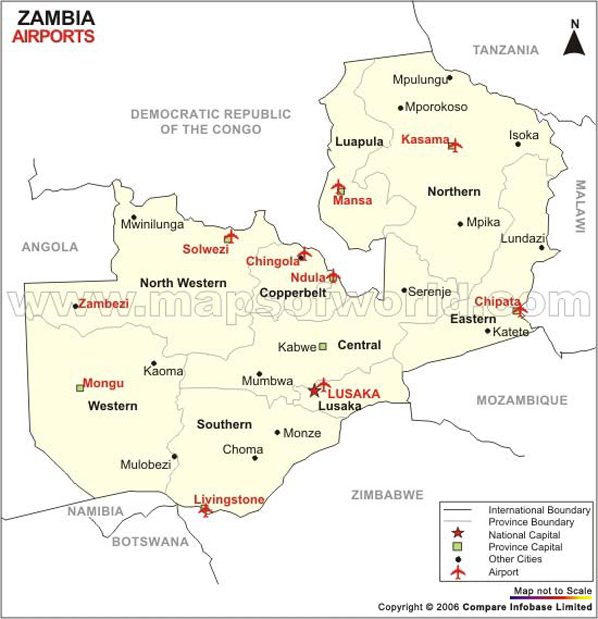 Map Of Zambia. Zambia Airport Map
