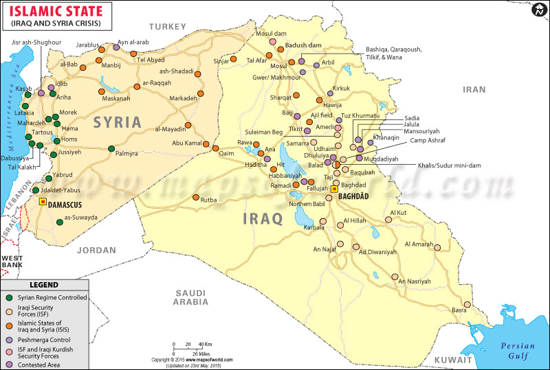 areas controlled by the ISIS in Iraq and Syria
