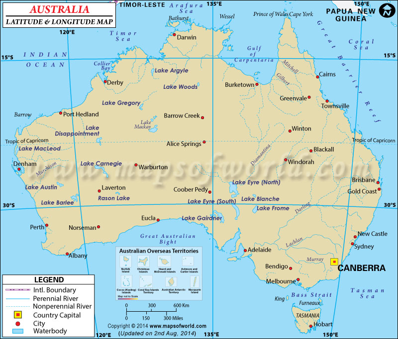 Australia Latitude and Longitude Map