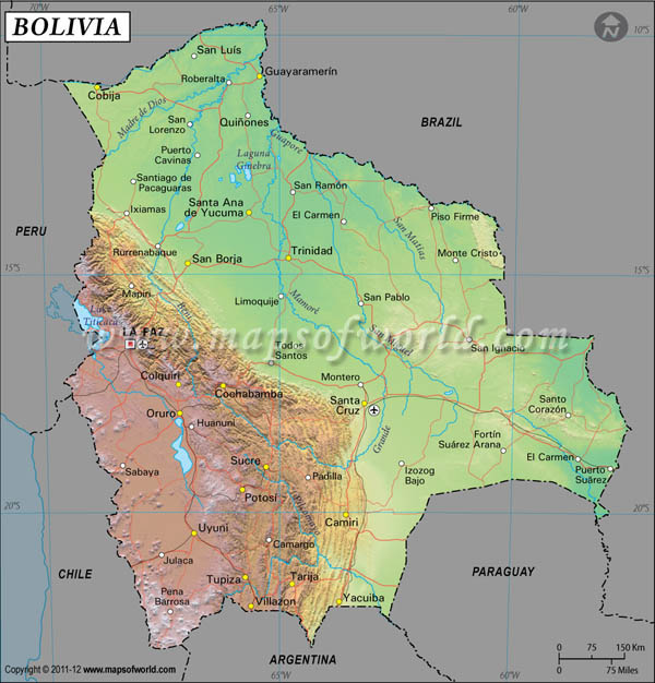 Bolivia Latitude and Longitude Map