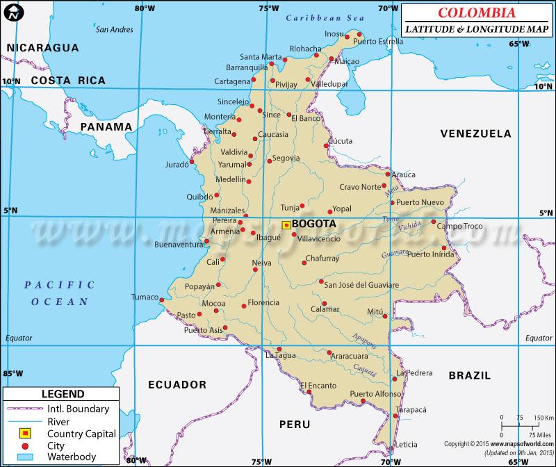 Colombia of Latitude and Longitude Map