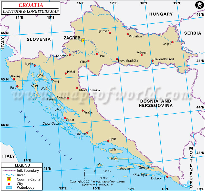 Croatia Latitude and Longitude Map