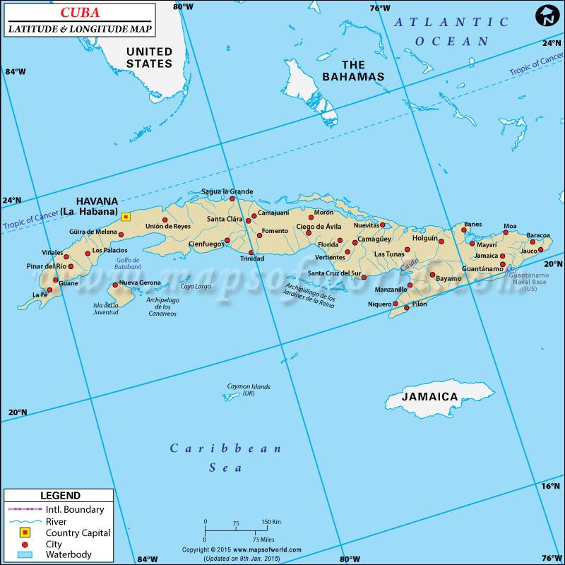 Cuba Latitude and Longitude Map