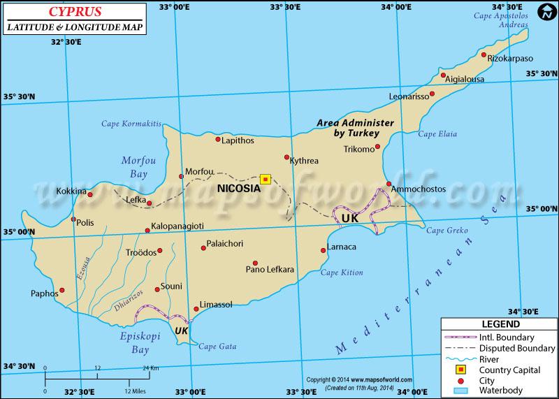 Cyprus Latitude and Longitude Map