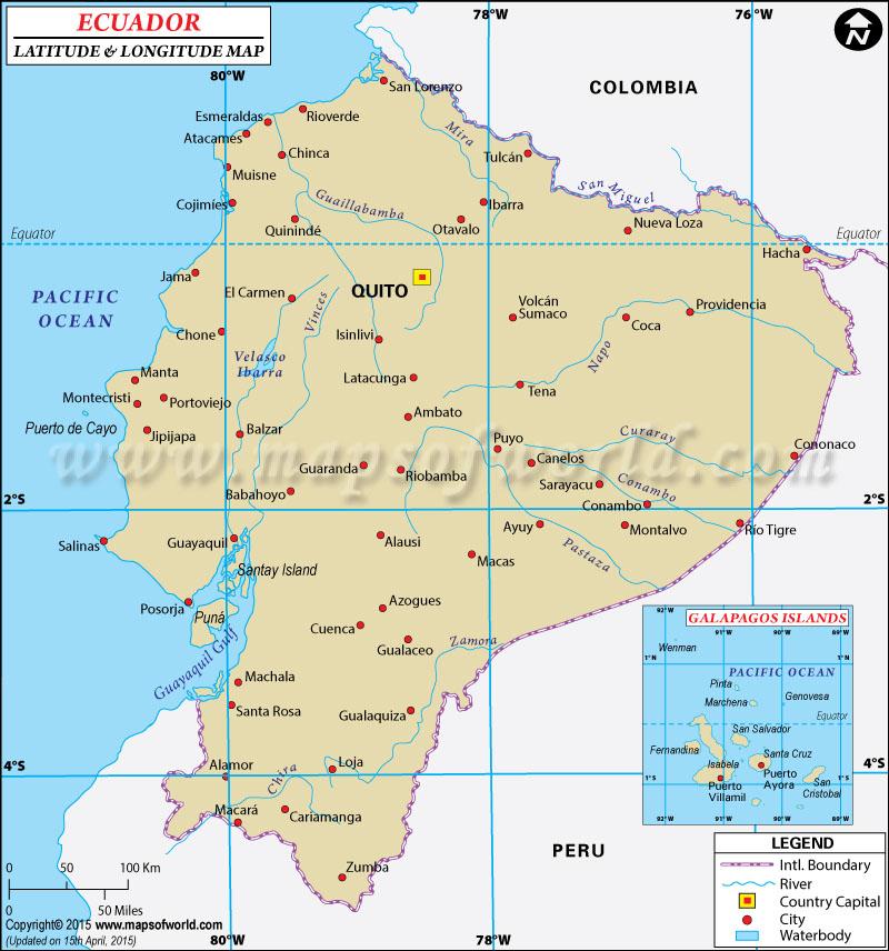 Ecuador Latitude and Longitude Map