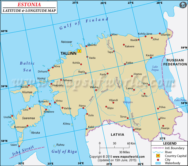 Estonia Latitude and Longitude Map