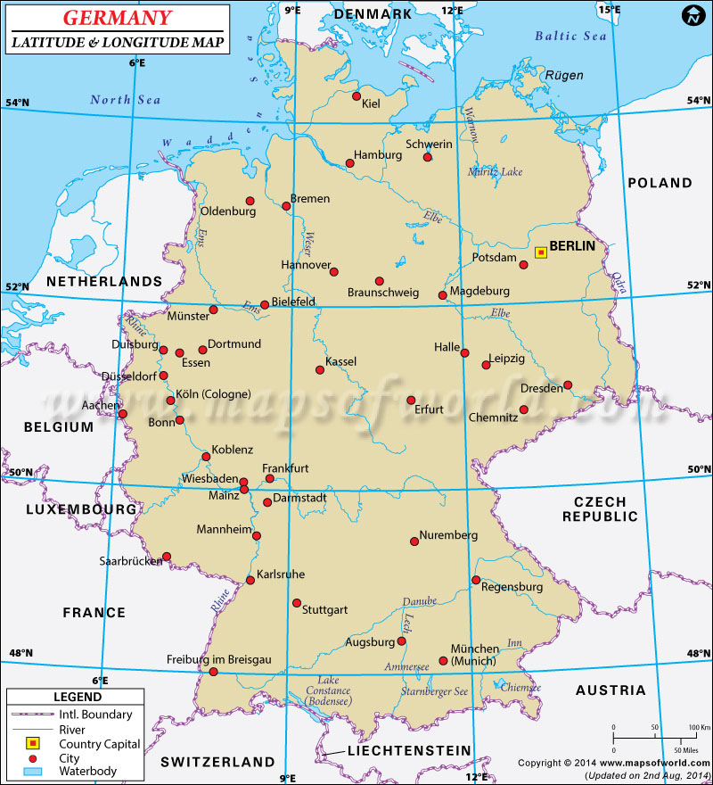 Germany Latitude and Longitude Map