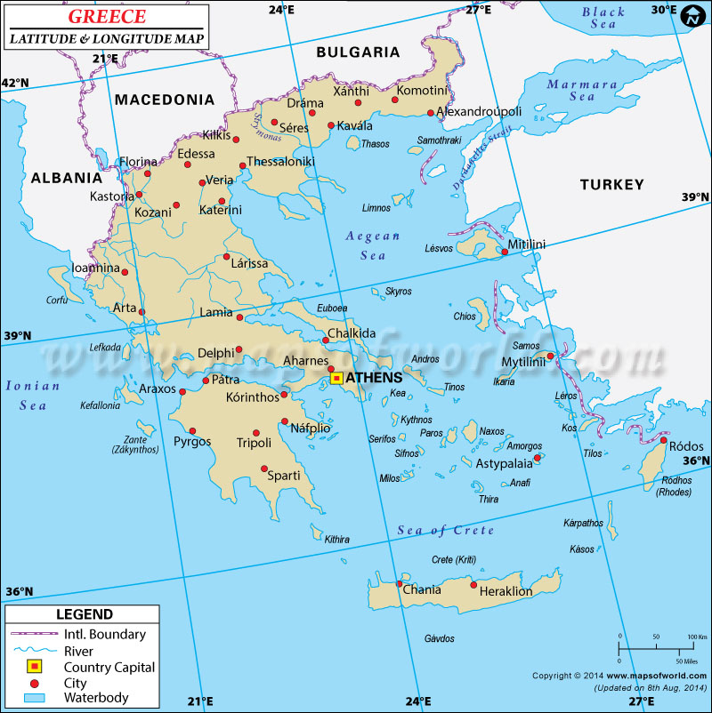 Greece Latitude and Longitude Map