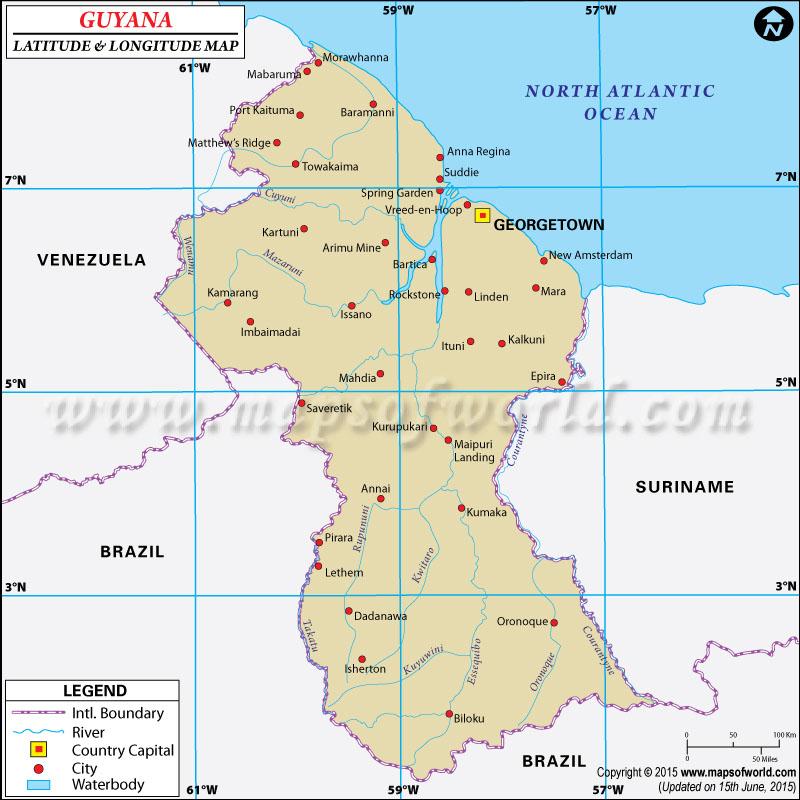 Guyana Latitude and Longitude Map