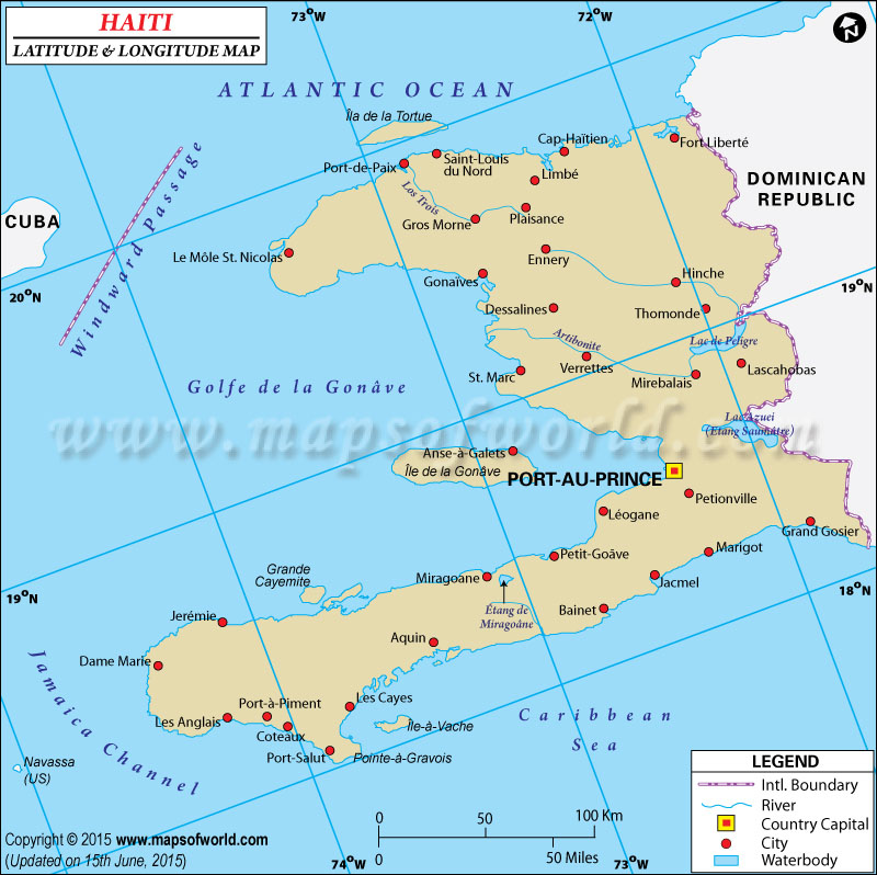 Haiti Latitude and Longitude Map