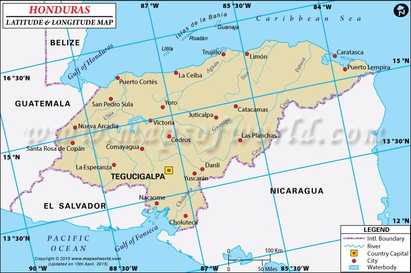 Honduras Latitude and Longitude Map