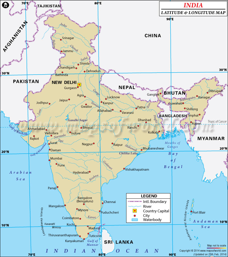 India Latitude and Longitude Map