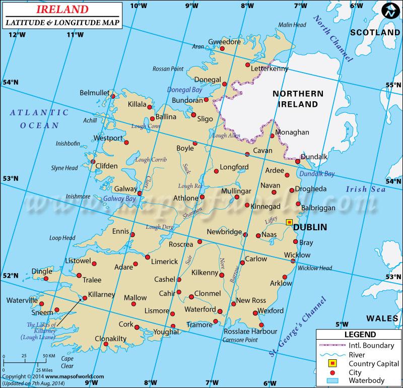 Ireland Latitude and Longitude Map