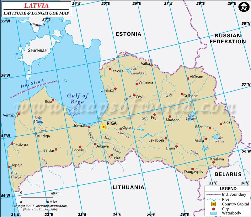 Latvia Latitude and Longitude Map